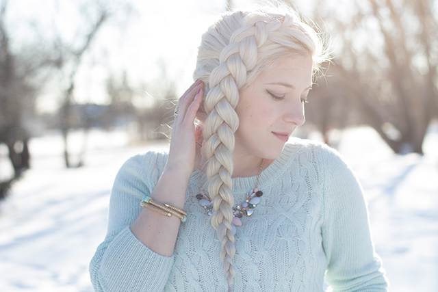 Elsa from Frozen dutch braid hairstyle.