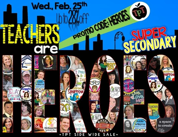 "TpT ""Teachers are Heroes"" Sale"