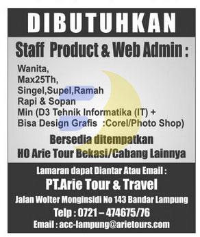 Bursa Kerja Lampung, PT. ARIE TOUR & TRAVEL