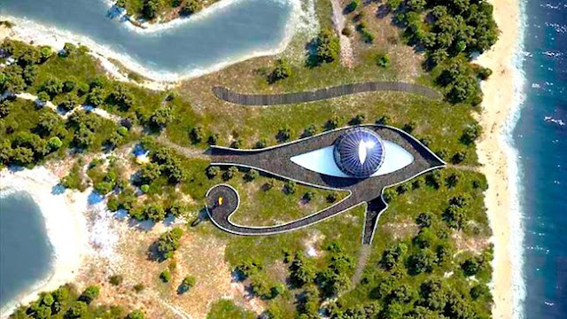 Building that looks like an eye - Naomi Campbell's Eco Mansion