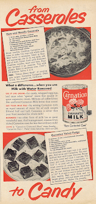 A 1950 ad for Carnation Evaporated Milk, with recipes