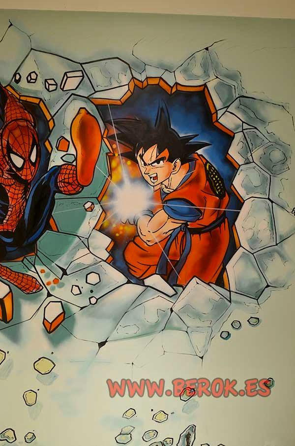 Graffiti Goku rompiendo pared de habitación con un goku kamehameha
