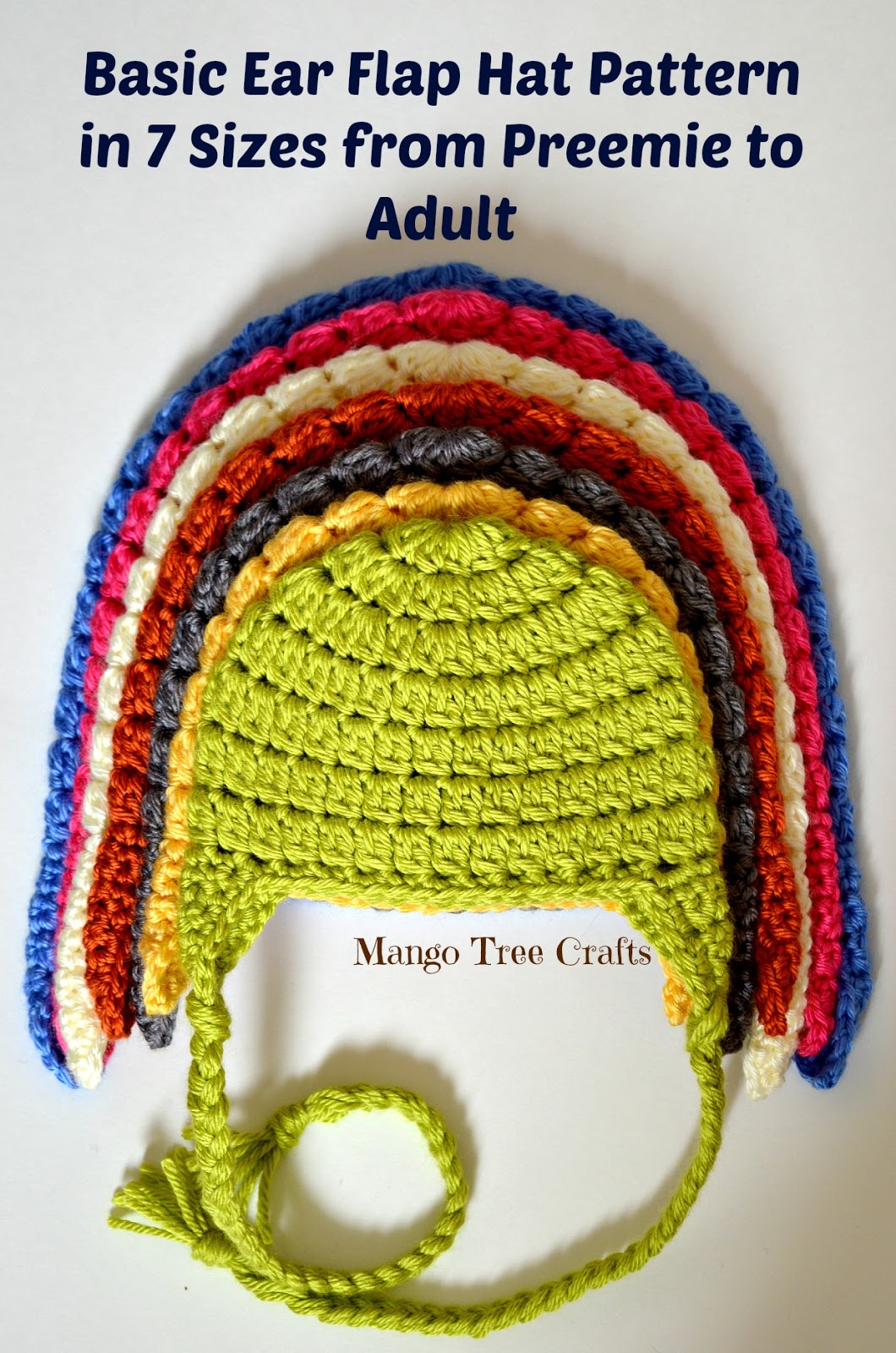 Free Crochet Pattern Earflap Beanie : Mango Tree Crafts: Basic Crochet Ear Flap Hat Pattern in 7 ...