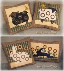 Country Friends A collection of 4 wool applique pillows