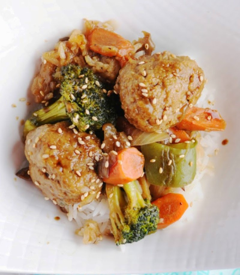 Teriyaki Turkey Meatball Stir-fry
