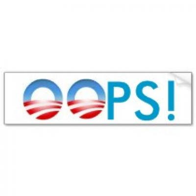 thumb obama oops bumper stickerp128282311662810141tmn6 210 Funny Pictures: Obama Bumper Stickers, Signs & Jokes