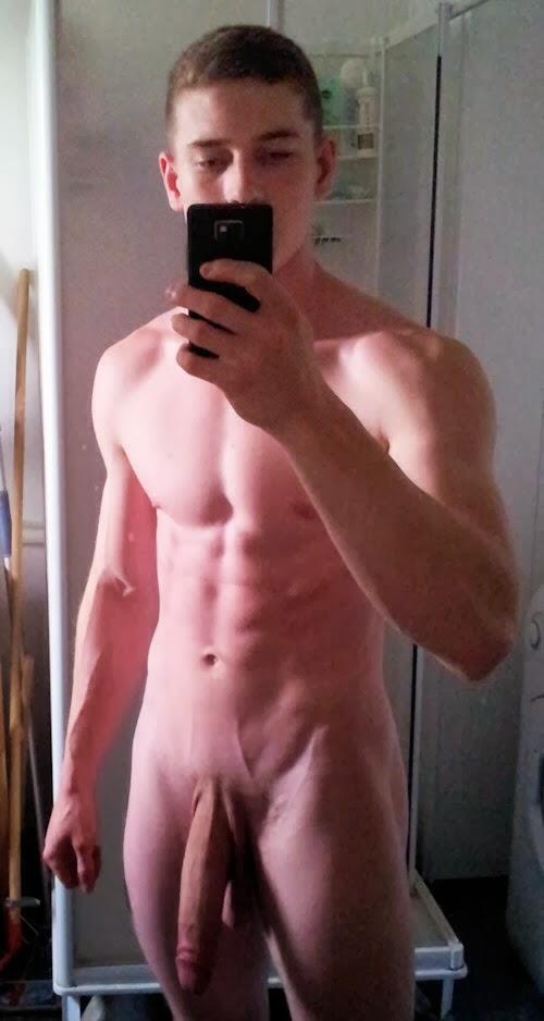 man selfie on white naked