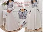 Baju Muslim Gamis Wide White JX079 HABIS