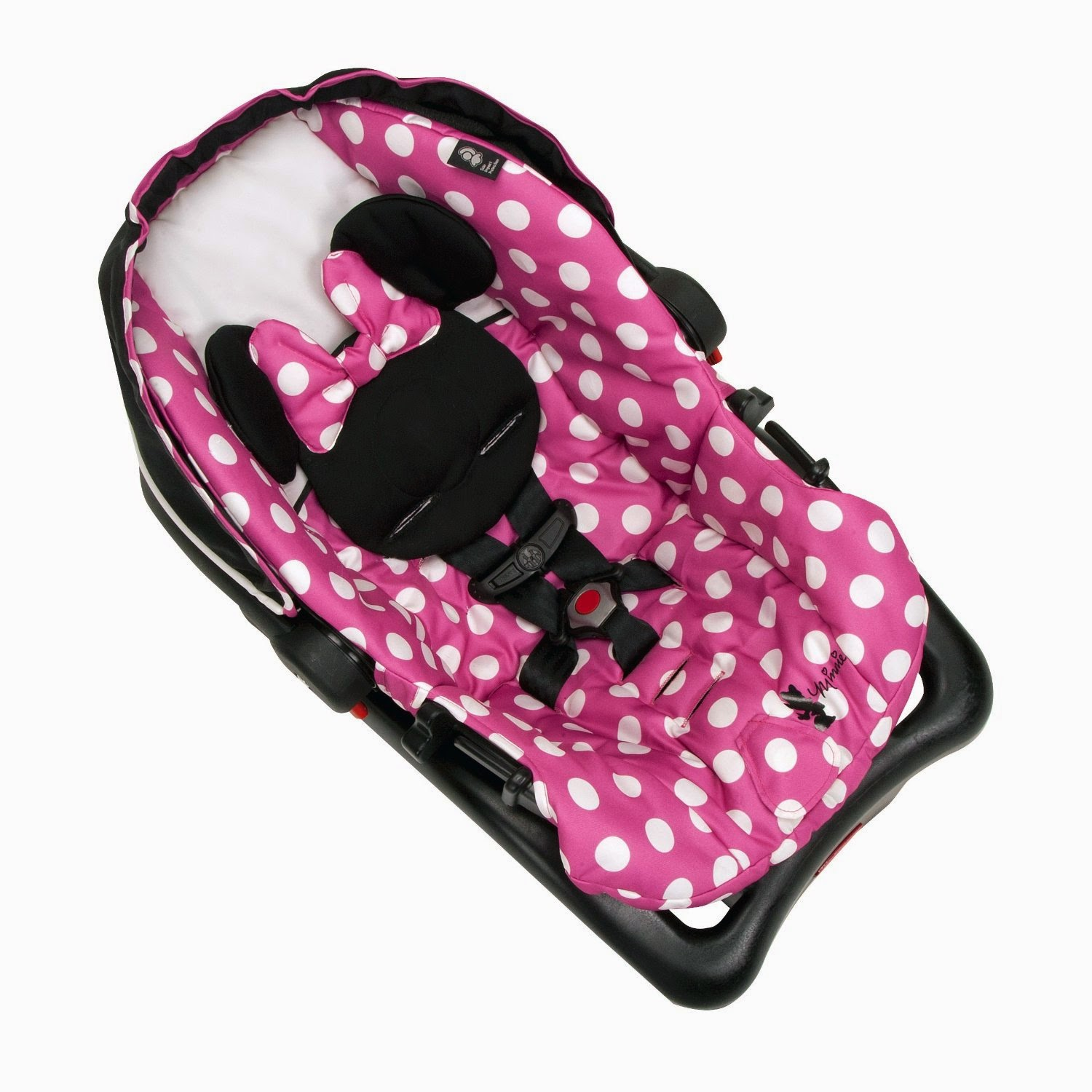 Probably The Cutest Baby Car Seat Ever Minnie Style White Dots On Pink Base Make A Wonderful Contrast To Entire Black Outside Design
