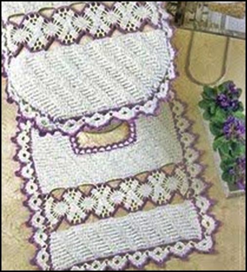 Accesorios De Baño A Crochet:Tapetes Tejidos De Gancho Para El Bano
