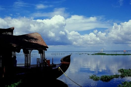 A boathouse on the placid backwaters of Kumarakom, Kerala
