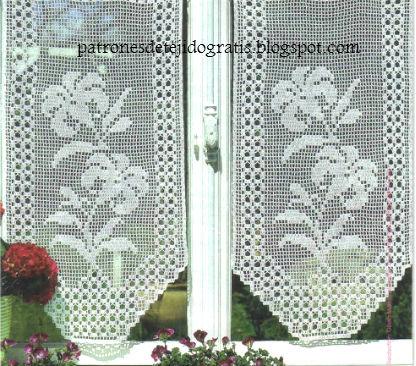 10 patrones de cortinas y cenefas crochet filet patrones for Cortinas de gancho para cocina