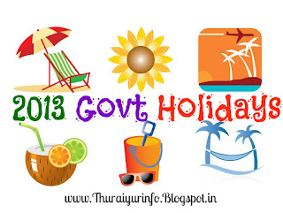 2013 Tamilnadu Government Holidays List