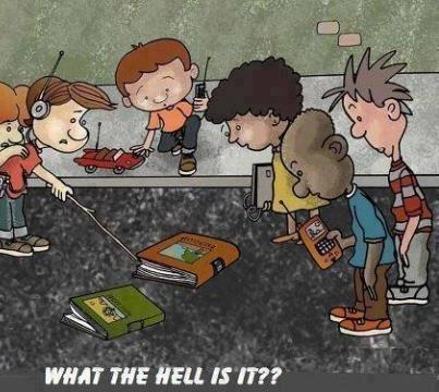 cartoon of several kids poking a book with a stick and asking what it is