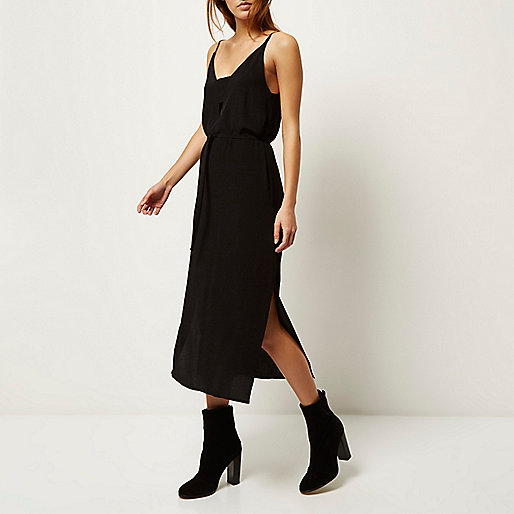 river island midi slip dress, black belted midi dress,