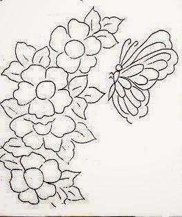 risco de flores e borboleta