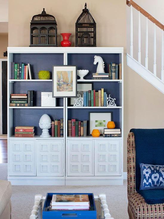 This Pair Of Bookcases An Online Score Was Given New Life With A Coat Soft Blue Paint Paired Together The Units Create Focal Point Along