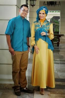 Baju pesta muslim couple modern sederhana