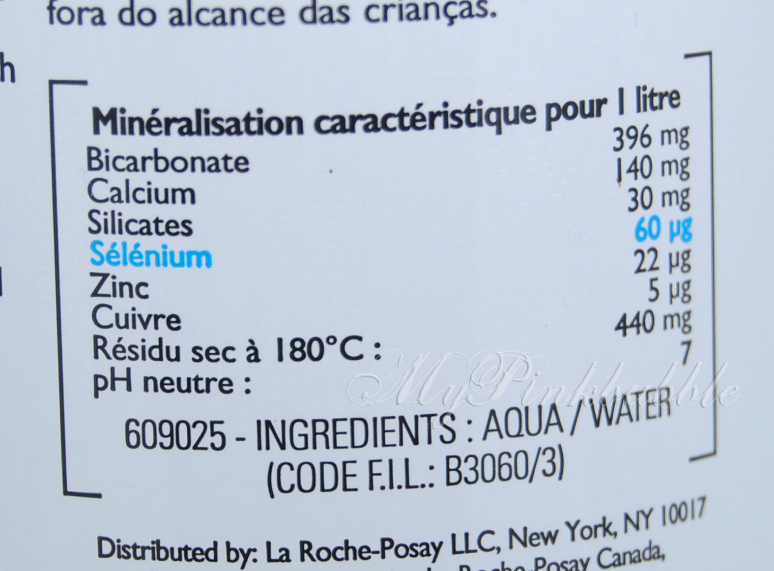 La roche posay agua termal ingredientes