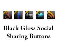 Social Media Black Gloss Sharing Buttons Widget