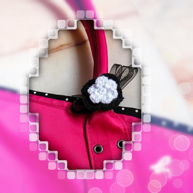 crocheted flower accessory for bag