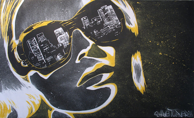 Acrylic painting on canvas of woman wearing sunglasses with reflection of city in lenses. Yellow and white pop art with graffiti street art edge on a black background.