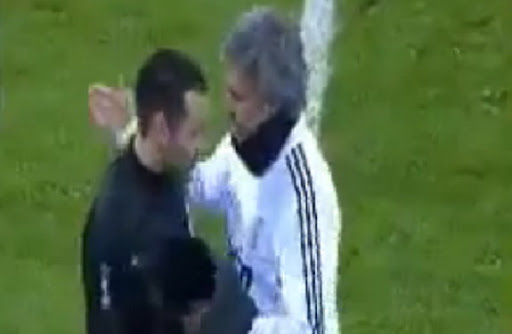 Real Madrid coach José Mourinho gives his vest to Ponferradina defender Dani Carril