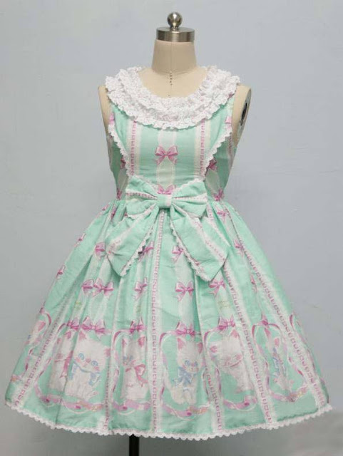Sweet Kitten Printed Lace and Bow Rococo Lolita Dress