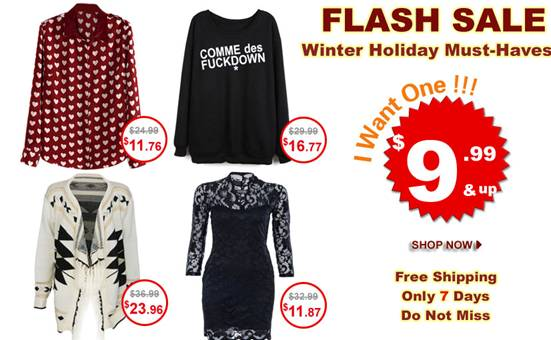 flash sale for winter holiday!