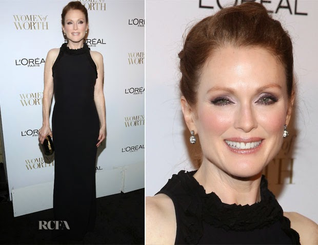 Julianne Moore  Robe Soirée Longue Noire – L'Oreal Paris' 9th Annual Women Of Worth Celebration