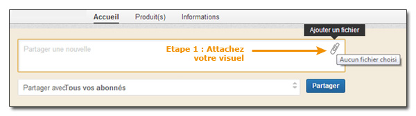 Etape 1 pour attacher une image à une contribution LinkedIn