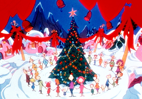 Whoville celebrating Christmas in How the Grinch Stole Christmas movieloversreviews.blogspot.com
