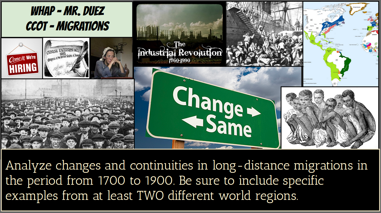 changes and continuities in long distance migrations from 1700 1900 Since about 1750, a steadily pyramiding sequence of changes has transformed   in 1900, production rose to an astonishing 1 billion tons, and coal provided 90   in 1700, world population, according to one estimate, was about 6034 million   world-wide were involved in long-distance migrations during big era seven.