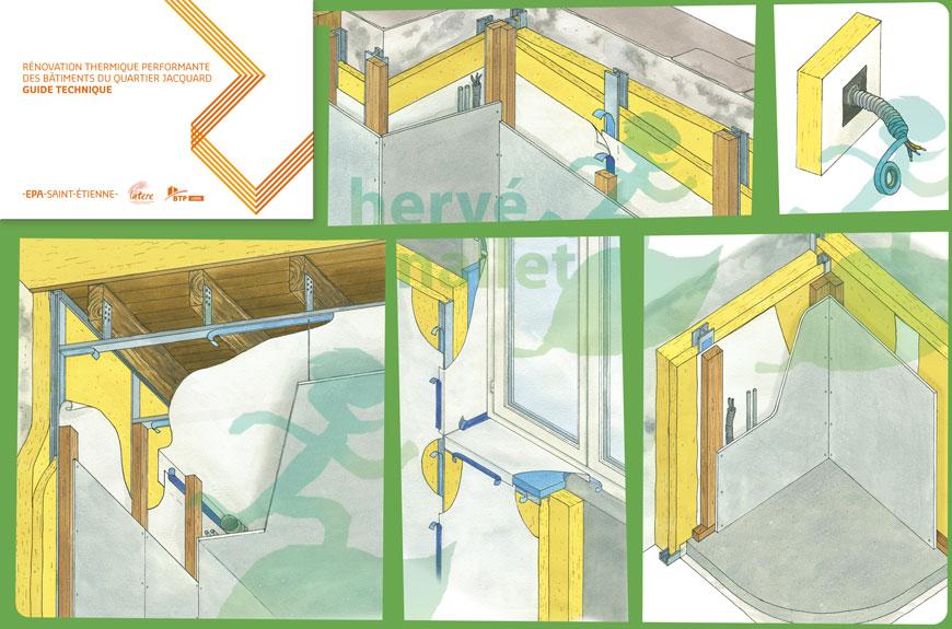 guide technique de rénovation thermique Rénovation thermique performante des bâtiments du quartier Jacquard à Saint-Étienne. EPASE  ALEC42 FBTP42