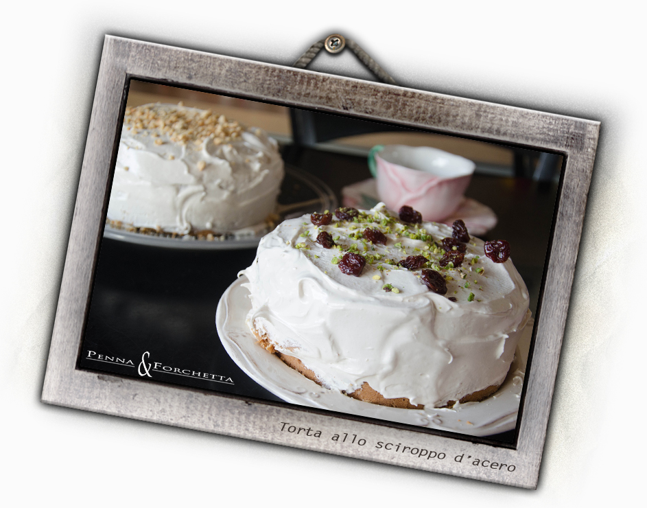 maple walnut layer cake with fluffy maple frosting - torta allo sciroppo d'acero