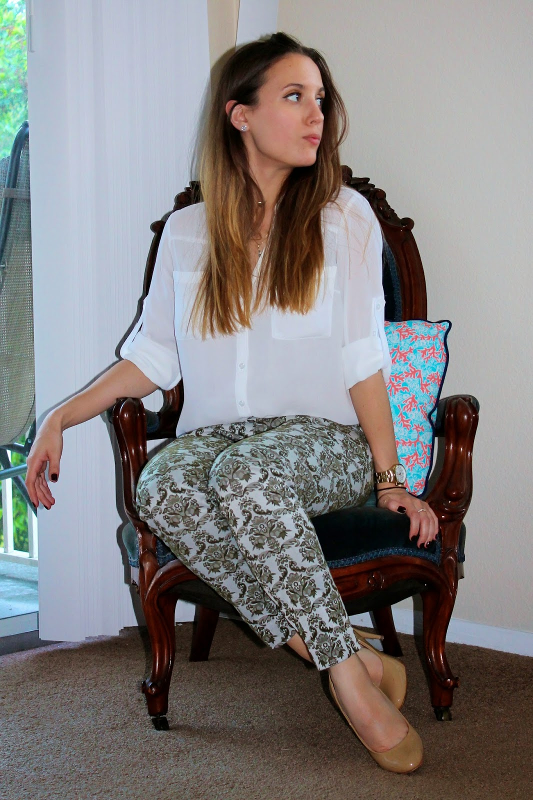 Anthropologie, Express, Timex, Steve Madden, classic, jaquard, damask, fashion, style, fashion blog, Miami fashion blogger, what I wore, classic, southern, prep
