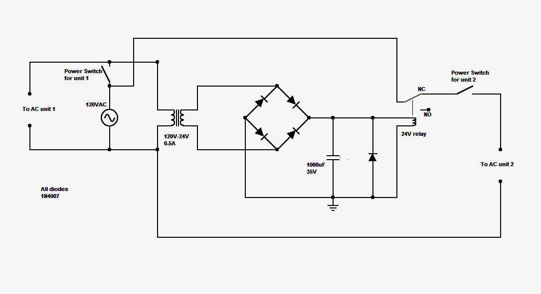 wiring diagram for changeover relay wiring image dual a c relay changeover circuit for power saving and efficiency on wiring diagram for changeover relay