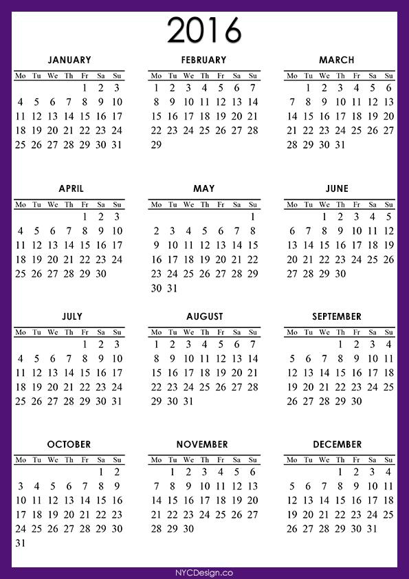 11 Printable Calendar For 2016 | Calendar Template 2016