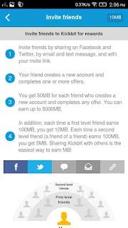 Earn Free Internet Data Plans From KickBit App [ Refer and earn Unlimited]