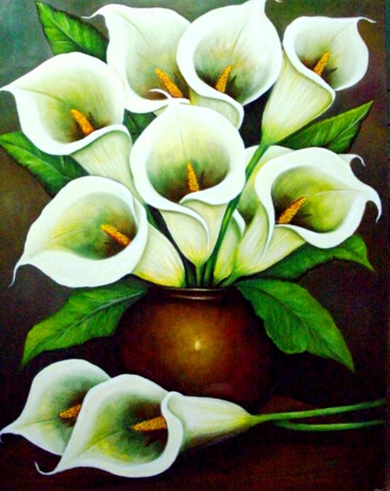 Cuadros modernos: floreros pintura óleo