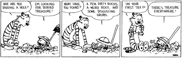Calvin knows it: there's treasure everywhere. Will you know it when you see it?