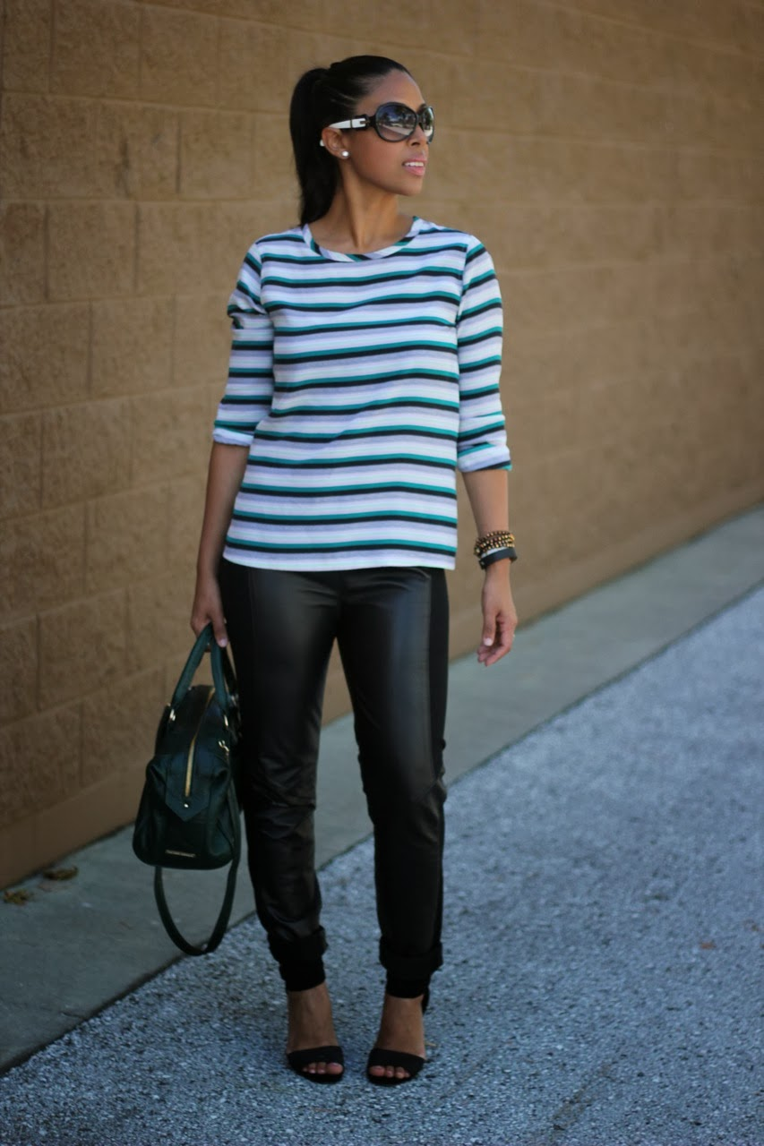 Equipment stripe top with BB Dakota leather pants and steve madden shoes Fendi sunglasses Lauren Merkin bag