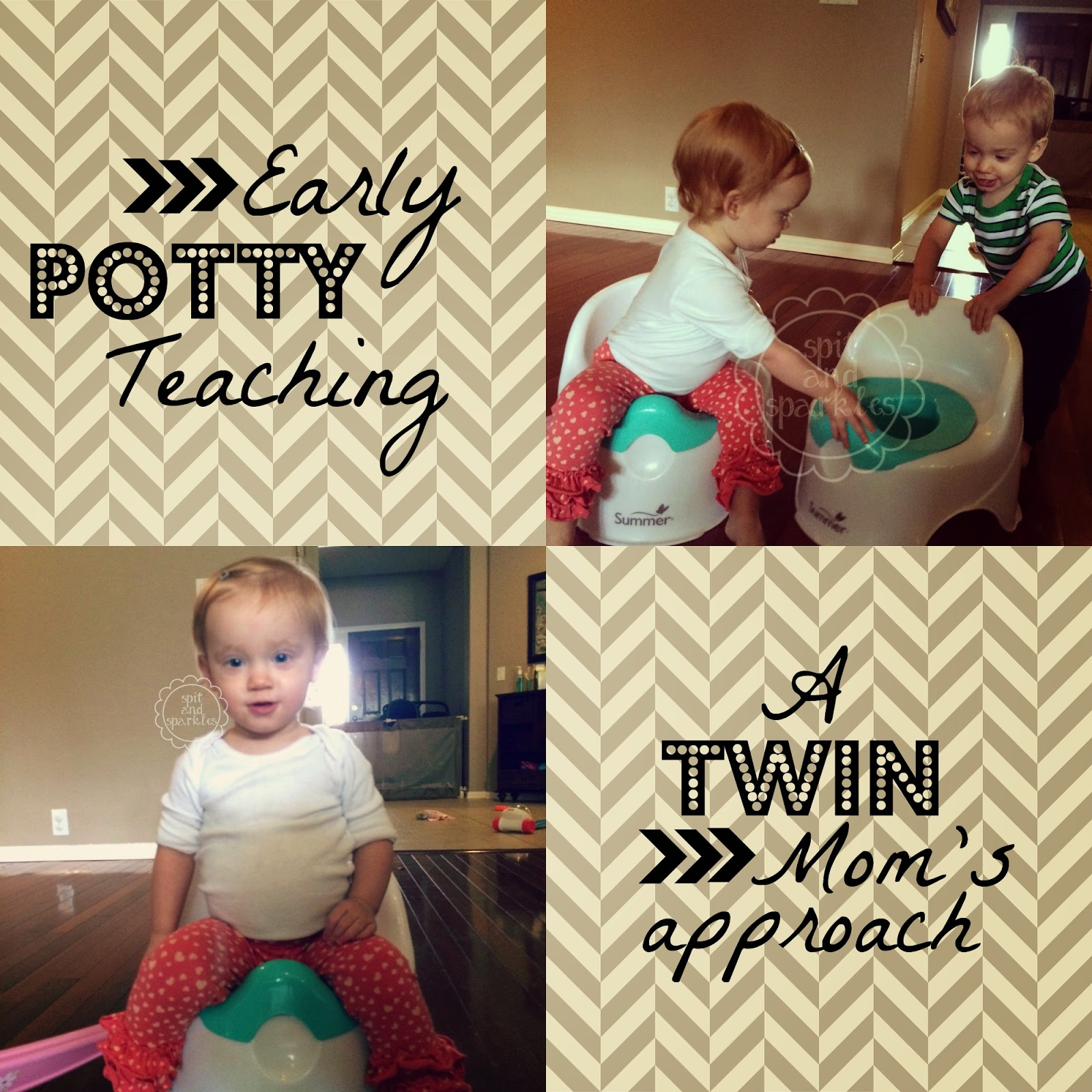 A twin mom's approach to early potty teaching