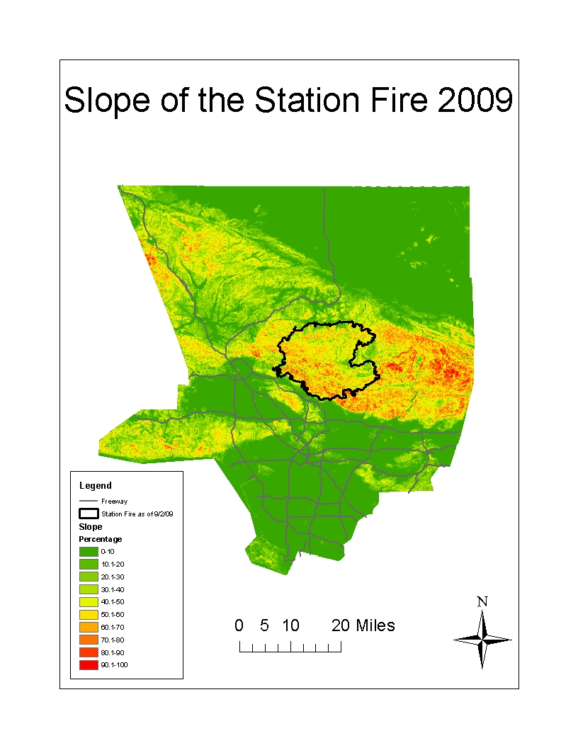 furthermore with time the fire also spread to the outermost edge of this outline an area with a steep slope as defined by the red coloring on the map