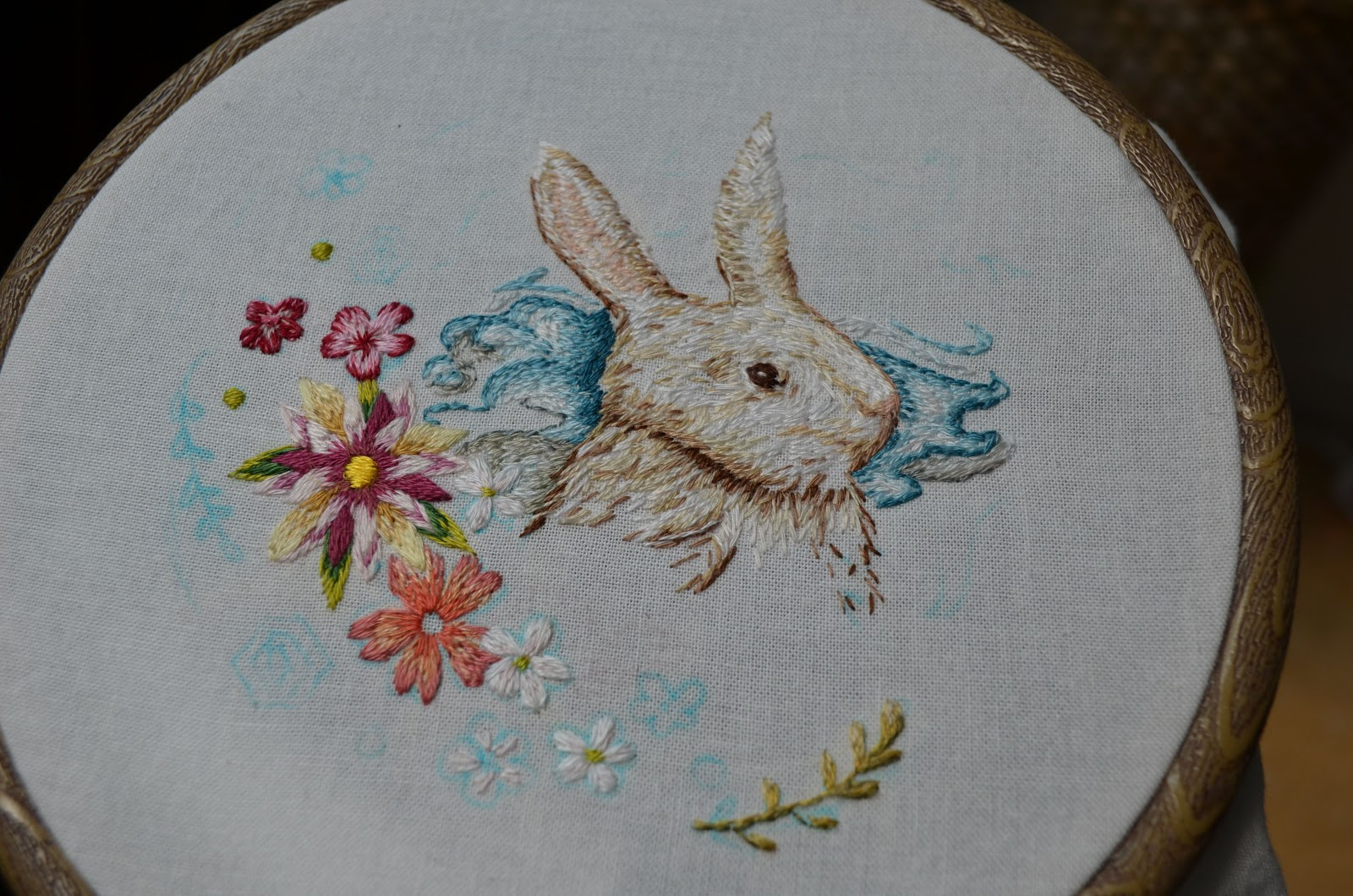 Follow the white bunny simple shading in embroidery tutorial
