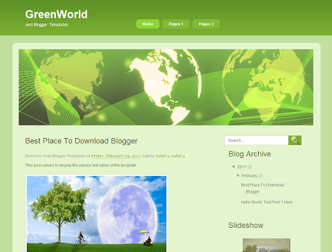 Green World Blogger Theme