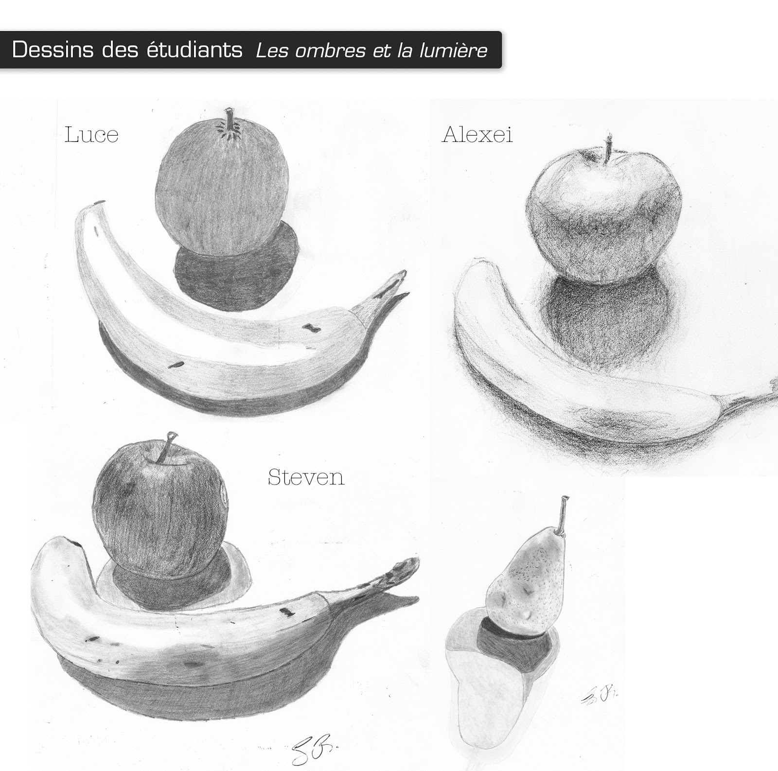 Le dessin par m lanie dessins de mes tudiants crayons graphites for Jardin ombre et lumiere