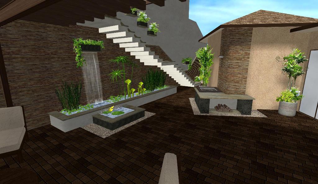 diseño 3D patio jardín acuatico fuente 1 cascada asador escalera foto 1
