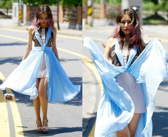 Three Floor 2014 SS Romance Light Blue Pleats Dress With Lace Panel