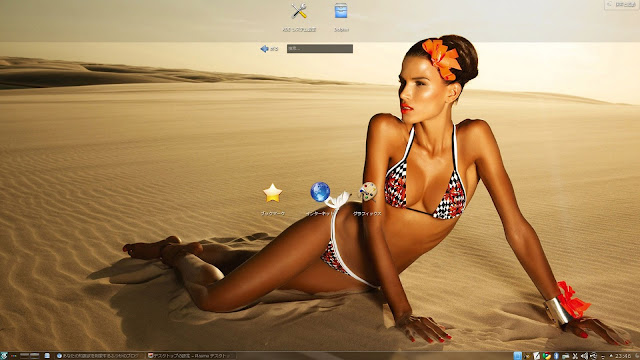 UbuntuにKDEをインストール。壁紙をセクシーなビキニ姿の女性に変更。